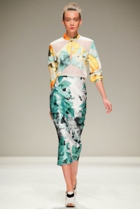 NYFW Bibhu Mohapatra spring 2014 fashion show Louboutins and Love fashion blog personal style Esther Santer floral dress skirt gown fractured fabric sheer green yellow blue red design week shoes heels white black geomet