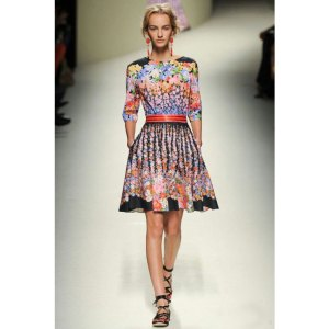 RUNWAY-Fashion-New-2014-Plus-Size-Women-Clothing-Colorful-Flowers-Print-Floral-Dress-Half-Sleeve-Knee
